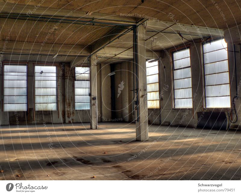 window front Factory hall Window Window pane Light Manmade structures Concrete Building Bright Interior shot Dirty Deserted Shaft of light Derelict Industry