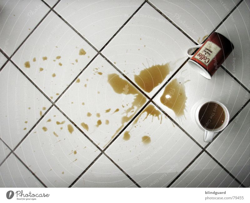 Warmth Brown Wet Floor covering Cleaning Coffee To fall Café Tile Patch Physics Fatigue Cup Puddle Disaster Accident