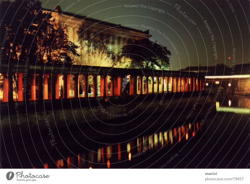 The red colonnades Red Night Speed Reflection Light Commuter trains Spree Museum island Dark Berlin Arcade River Germany Water Shadow Column Contrast