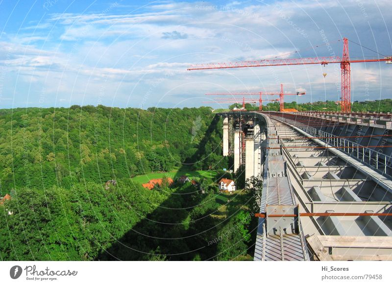 Forest Landscape Environment Concrete Transport Bridge Construction site Dresden Highway Steel Crane Valley Traffic lane Saxony Construction steel