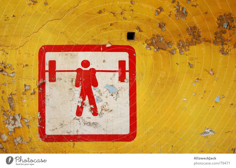 Man Old Red Yellow Sports Wall (building) Playing Wall (barrier) Derelict Signage Symbols and metaphors Weight Plaster Lift Heavy Bump