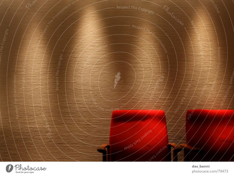 1¾ Chair - space is luxury! Culture Backrest Illuminate Presentation Light Soft Dark Armchair Wood Cloth Wall (building) Wallpaper Red Relaxation Looking