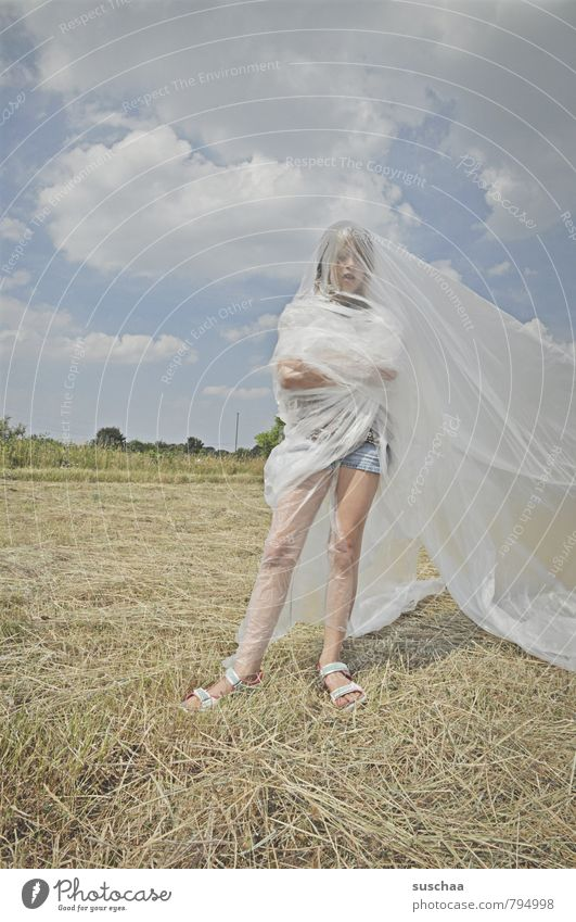 Sky Child Nature Summer Clouds Girl Environment Legs Head Field Body Infancy Skin Crazy Beautiful weather Plastic