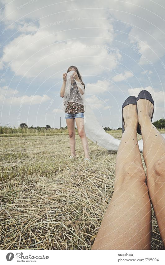 Human being Sky Child Nature Summer Landscape Clouds Girl Environment Feminine Legs Feet Field Body Infancy Footwear