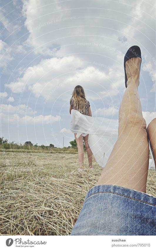 the modern woman shows leg Feminine Girl Life Body Skin Legs Feet 2 Human being Environment Nature Landscape Sky Horizon Summer Beautiful weather Field