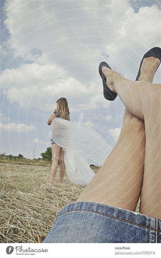 Human being Sky Child Nature Summer Clouds Girl Environment Life Feminine Legs Feet Horizon Field Body Skin