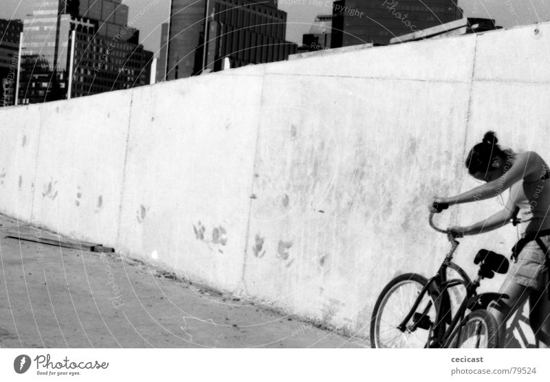 city girl Summer Grief Distress lonelyness black & withe outdoor portrait bicycle Calm buildings tired sad