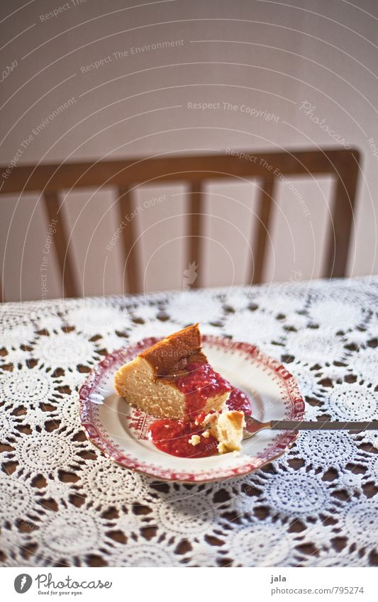 cheesecake Food Cake Candy cheese cake raspberry sauce Nutrition Vegetarian diet Plate Fork Chair Table Delicious Appetite Colour photo Interior shot Deserted