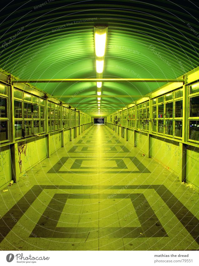 always straight ahead Square Neon light Late Window Light Loneliness Symmetry Pattern Dark Dangerous Vanishing point Night Green Right ahead Tunnel vision