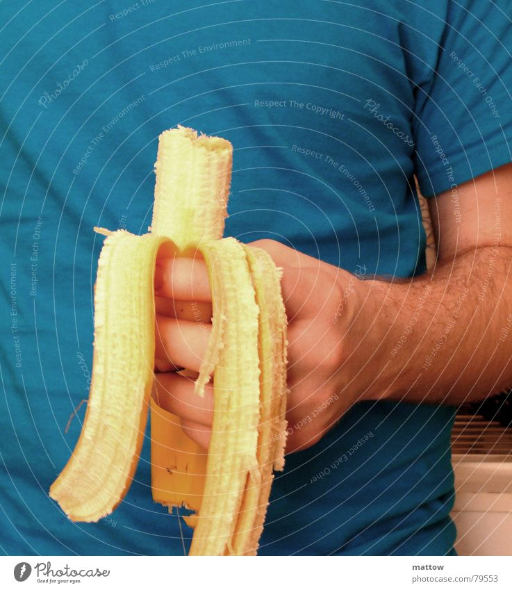 Hand Nutrition Yellow Arm Eating Food Fruit Fingers T-shirt Dish Shirt Stomach Dinner Meal Fast food Banana