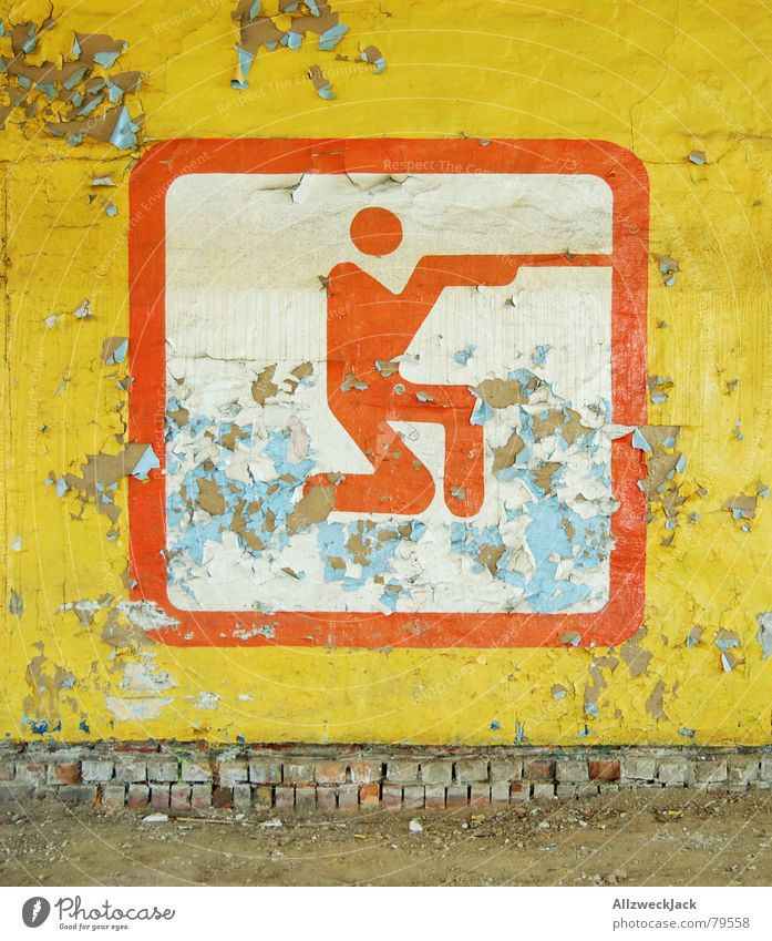 Man Old Red Yellow Colour Sports Wall (building) Playing Wall (barrier) Weapon Dirty Derelict Signage Symbols and metaphors Ruin Plaster