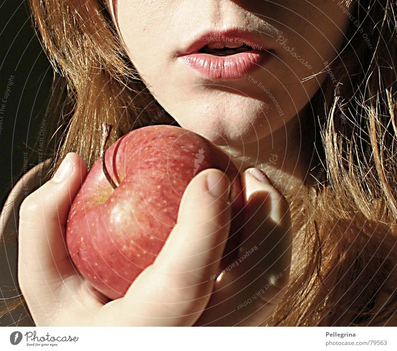 Woman Hand Face Mouth Lips Apple Alluring Sin Snow White