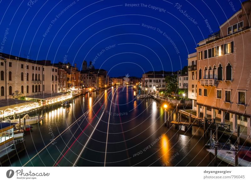 Venice in the night Beautiful Vacation & Travel Tourism Culture Sky Clouds Town Bridge Building Architecture Transport Street Watercraft Historic Blue Italy
