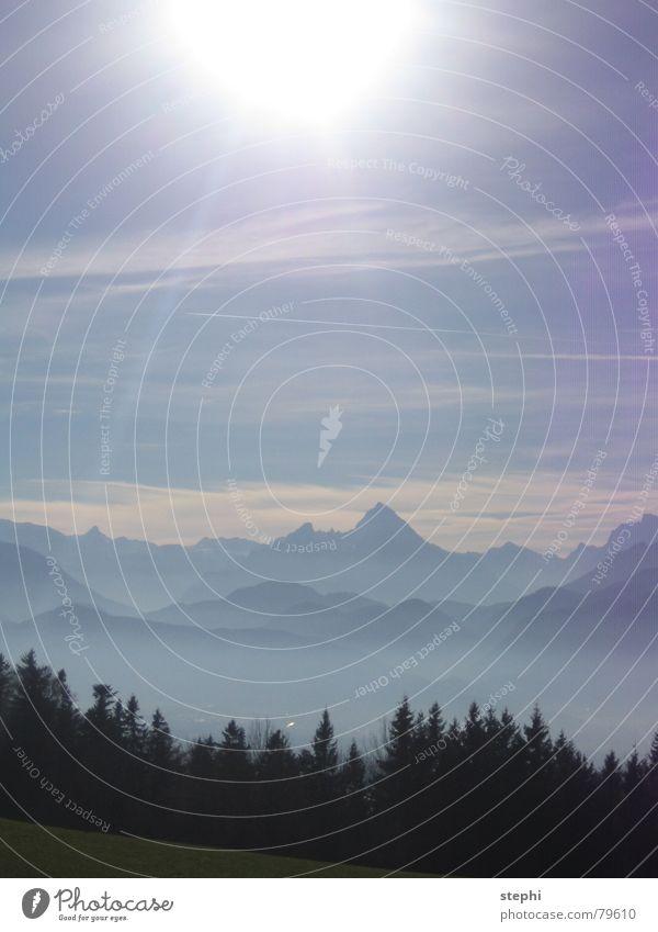 Beautiful Sky Sun Summer Clouds Meadow Mountain Freedom Warmth Bright Lighting Fog Physics Alps Austria Blue sky