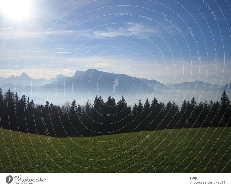 summer in the mountains II Meadow Fog Clouds Summer Physics Beautiful Sun Exterior shot Austria Mountain Sky Bright Warmth Freedom Lighting Alps Blue sky