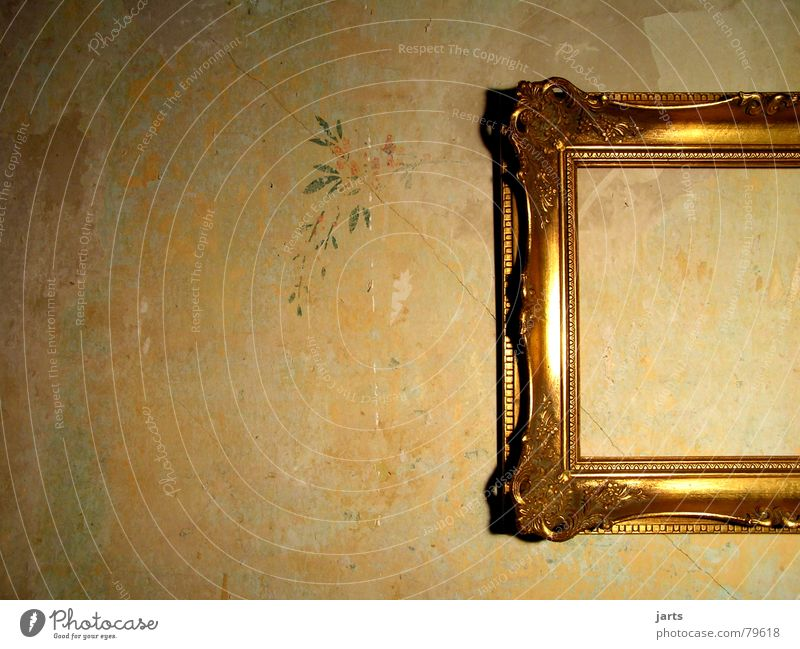 uninhabited Art Wall (building) House (Residential Structure) Flat (apartment) Ancient Empty Light Decoration Living room take a picture Image Old Gold Frame