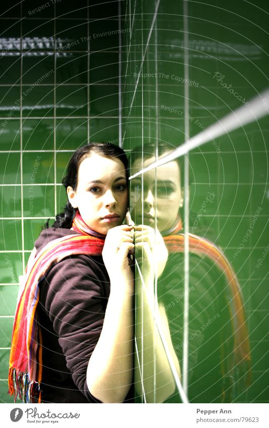 Woman Human being Girl Green Loneliness Sadness Fear Grief Tile Panic Mirror image Scarf Claustrophobia