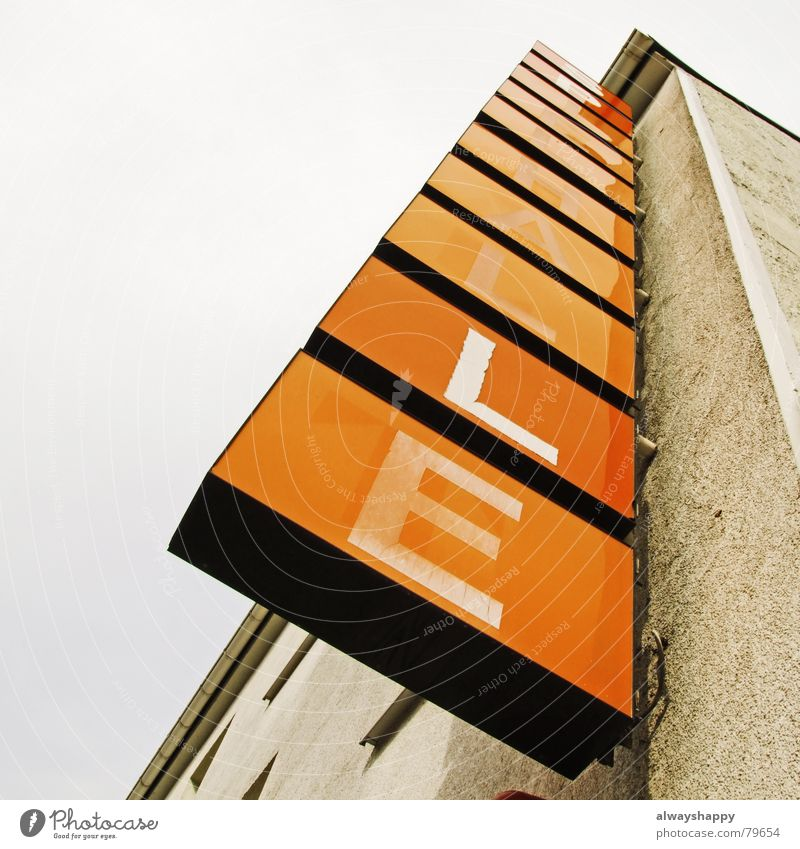 Sky House (Residential Structure) Gray Orange Dirty Signs and labeling Facade Closed Characters Broken Letters (alphabet) Advertising Derelict Shabby Insolvency