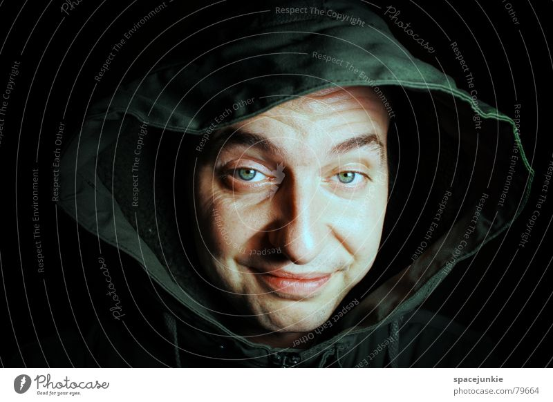 Human being Man Green Winter Face Black Eyes Dark Mouth Fear Crazy Cap Panic Freak Hooded (clothing) Portrait photograph
