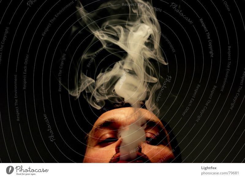 a lot of smoke for nothing Cancer Dark Smoke Blow Man Cigarette Face Smoking Night Perspective Black Smoke signal Horizon Environmental pollution Relationship