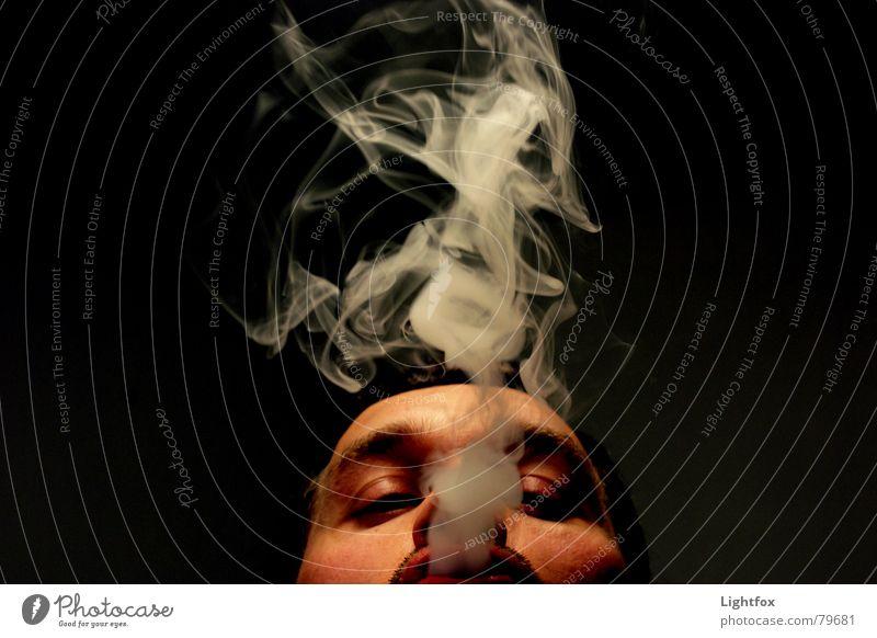 Human being Man Black Face Dark Horizon Fog Perspective Smoking Industrial Photography Smoke Blow Relationship Opinion Cigarette Boredom