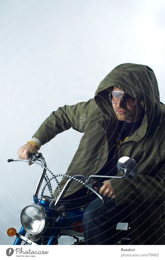 moped-gang on the way Scooter Driver Iconic Rear view mirror Motorcycle Driving Coat Hooded (clothing) Eyeglasses Sunglasses Motorcyclist Floodlight