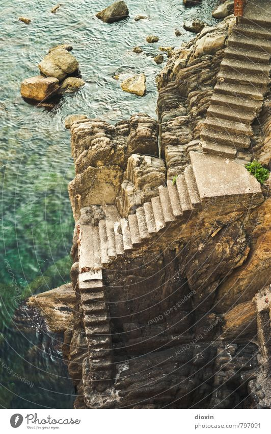 Upstairs, downstairs Vacation & Travel Tourism Sightseeing Summer Summer vacation Ocean Rock Coast Mediterranean sea Cinque Terre Liguria Stairs Threat Tall