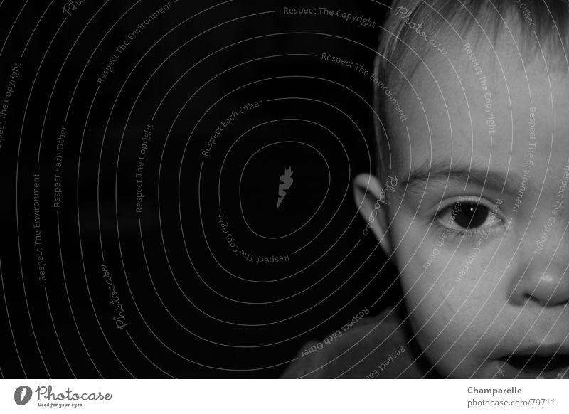 Laura Child Shoulder Black & white photo Toddler Living room Eyes Nose Mouth Ear