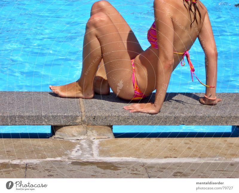 Woman Blue Water Summer Relaxation Legs Feet Swimming & Bathing Leisure and hobbies Arm Sit Swimming pool Bikini Aquatics Open-air swimming pool Swimwear