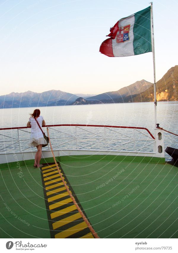 The Wave Counter Homesickness Dance floor Lake Flag Watercraft Ferry Steel Green Railing Yellow Black Italy Ocean Vacation & Travel Wanderlust Longing Summer