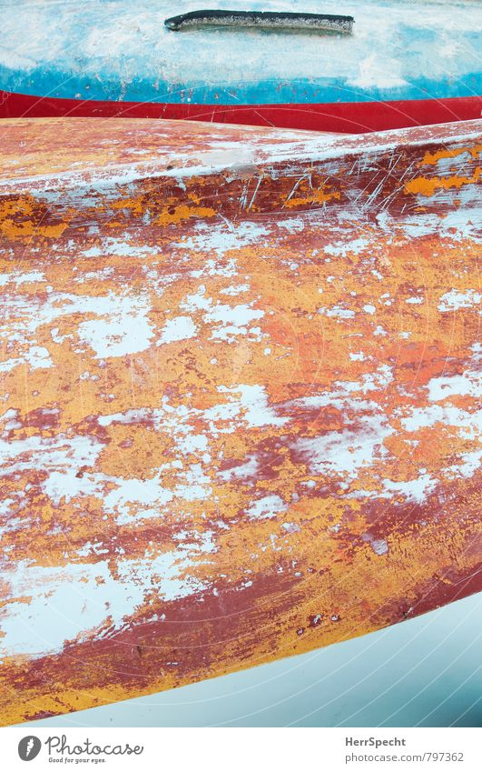 on the dry Vacation & Travel Trip Far-off places Summer Ocean Navigation Boating trip Fishing boat Watercraft Harbour Lie Wait Old Esthetic Maritime Blue Orange