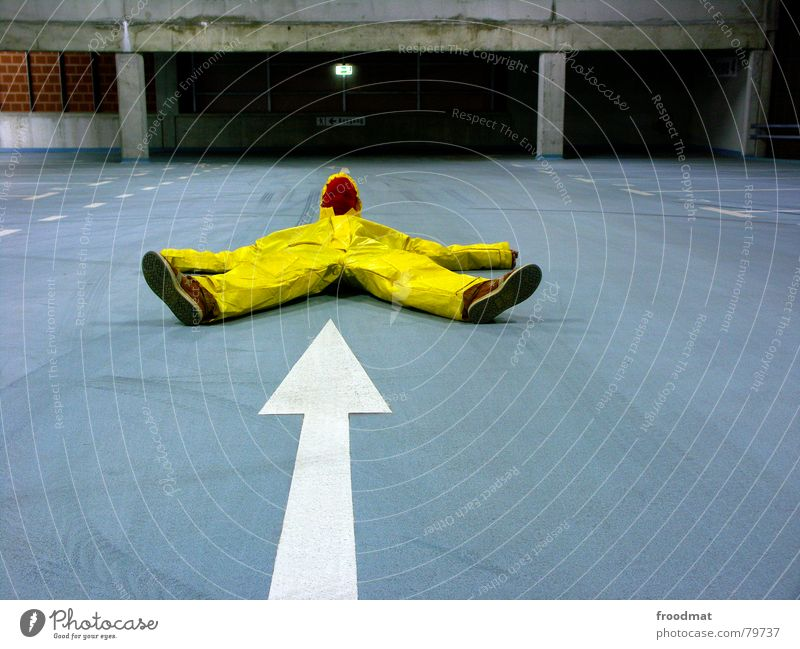 Blue Joy Yellow Gray Art Funny Crazy Mask Point Arrow Suit Stupid Surrealism Parking garage Rubber Futile
