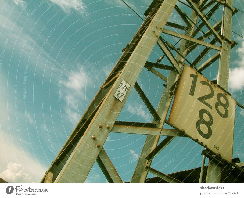 Sky Blue Clouds Metal Weather Tall Perspective Construction site Industrial Photography Digits and numbers Climbing Steel Typography Weight Crane Build