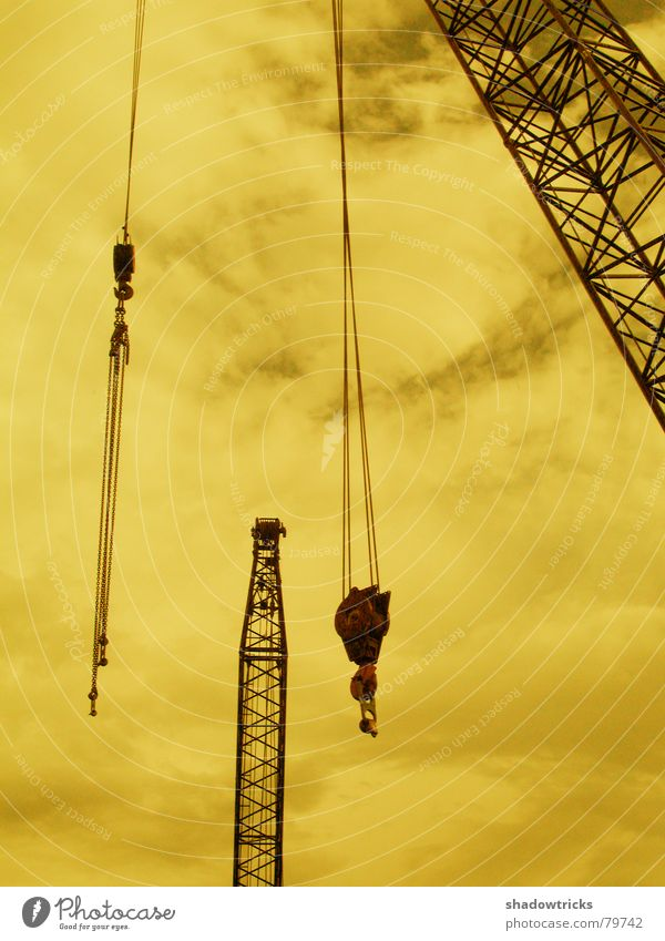 Sky Clouds Yellow Metal Weather Tall Perspective Industry Construction site Climbing Steel Weight Build Crane Dismantling Lift