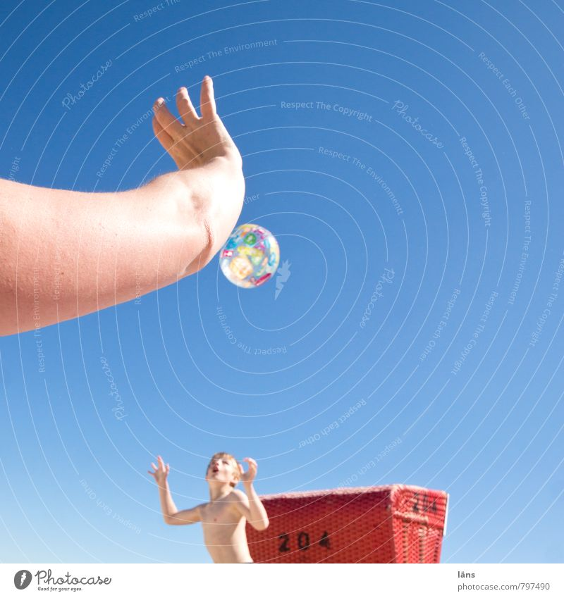 beach game Playing Summer Beach Ball Boy (child) Woman Adults Mother Infancy Arm 2 Human being 8 - 13 years Child Cloudless sky Beautiful weather Coast