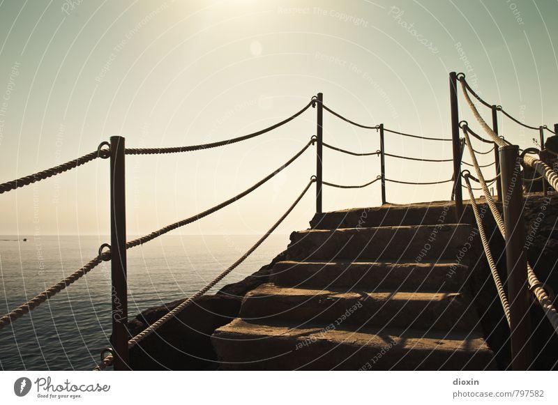 Stairs to the beach Vacation & Travel Summer Summer vacation Sun Ocean Waves Environment Water Sunlight Coast Mediterranean sea Cinque Terre Riomaggiore Liguria