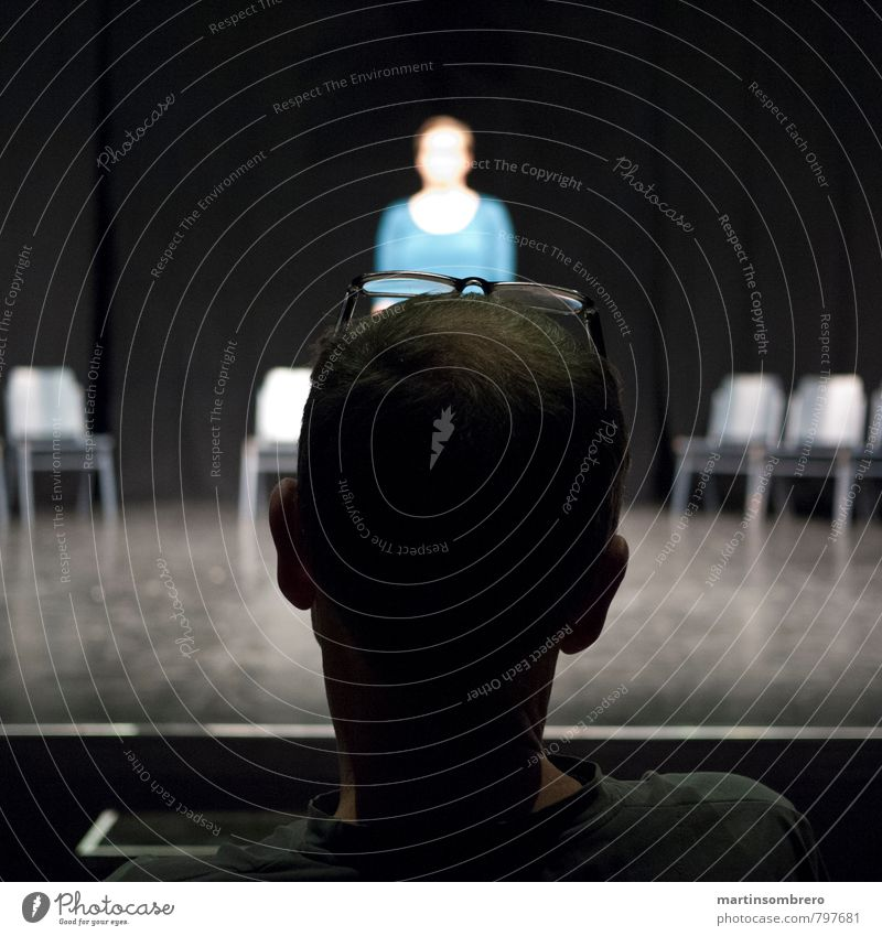 audition Human being Masculine Feminine Adults 2 Artist Stage play Eyeglasses Think Blue Gray Expectation Colour photo Interior shot Copy Space left