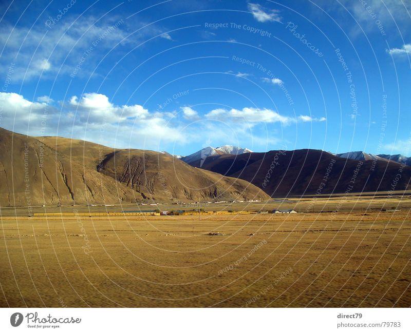 Colour Mountain Landscape Asia Railroad tracks China Few Blue sky Lacking Sparse Mountain range Mountain ridge Comb Tibet Himalayas High plain