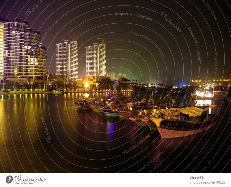 City Calm Colour Dark Watercraft High-rise Island River Asia Harbour China Jetty Downtown Night Capital city