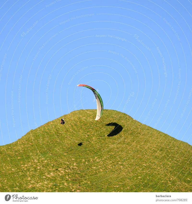 high up l and around the world Sports Paragliding Human being 1 Nature Landscape Earth Air Sky Summer Beautiful weather Meadow Hill Mountain Allgäu Alps Flying