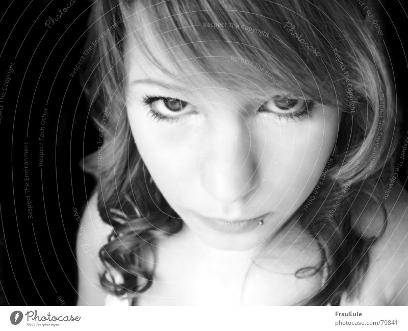 Angel look? Black & white photo Interior shot Light Front view Looking into the camera Lamp Young woman Youth (Young adults) Beautiful weather Curl Glittering