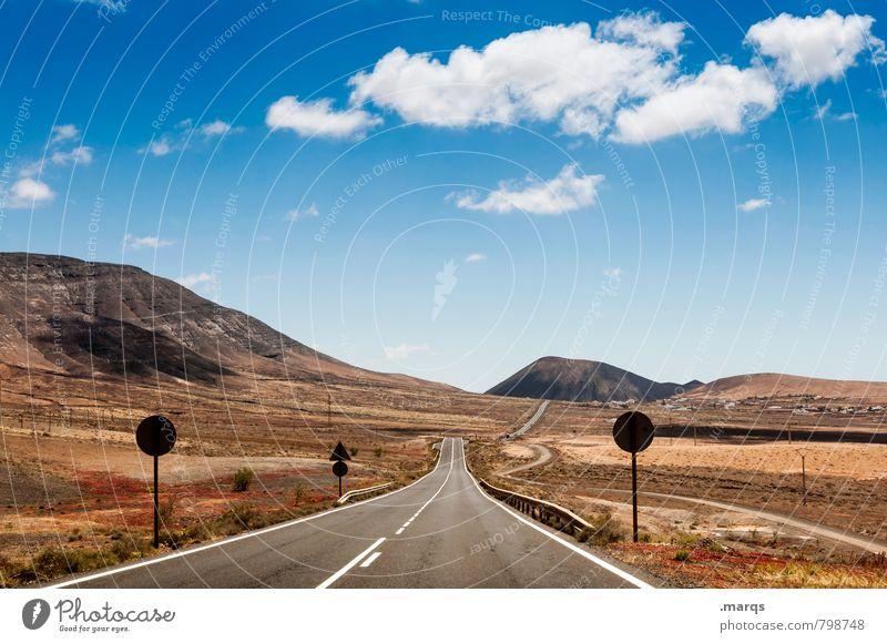 A long way Vacation & Travel Trip Adventure Far-off places Freedom Landscape Sky Clouds Horizon Summer Beautiful weather Hill Steppe Transport Street Road sign