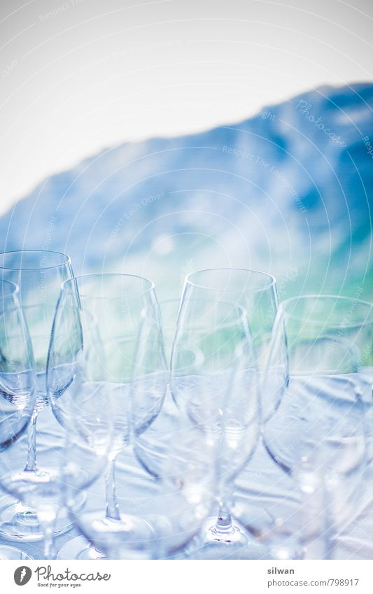 Glass is empty ... Lounge Wedding Esthetic Glittering Beautiful Cold Green White Anticipation Calm Wine glass Mountain Shallow depth of field Glass goblet