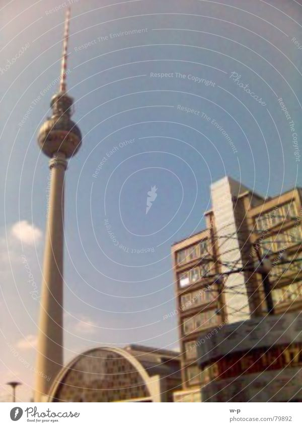 uff'n Alex World time clock Town Alexanderplatz Beautiful weather Train station Berlin Berlin TV Tower Sun alex Blue sky Architecture
