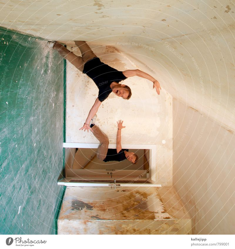 Common Swift Human being Masculine 2 Wall (barrier) Wall (building) Door To fall To hold on Trap Tumble down Scream Room Hollow Hallway Colour photo