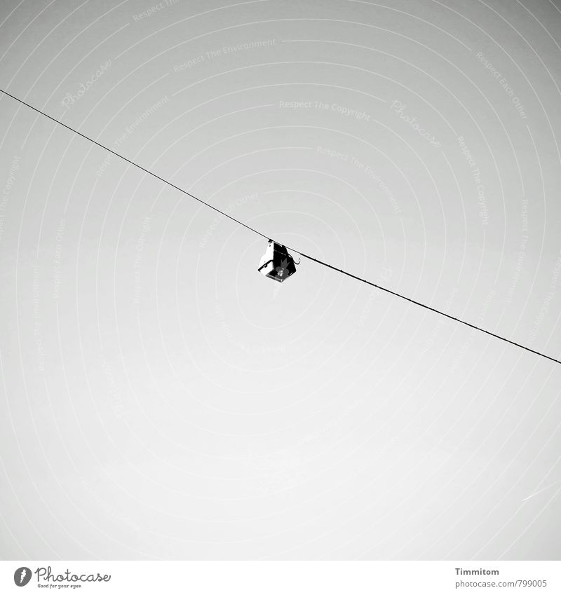Sky Black Emotions Gray Lamp Copy Space Authentic Esthetic Simple Street lighting Clarity Hang Wire cable Lighting