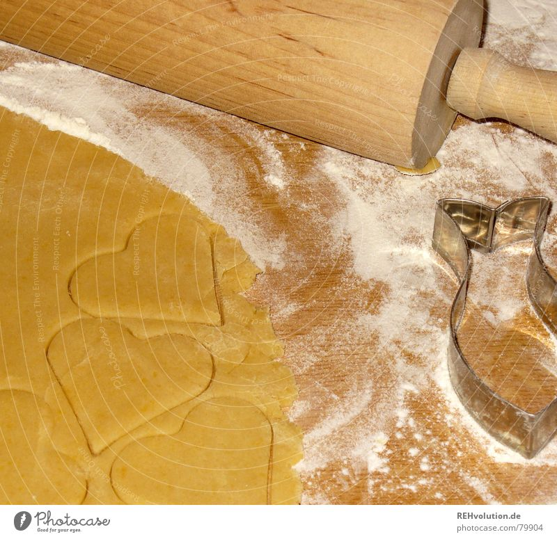 Christmas & Advent Joy Winter To enjoy Heart Cooking & Baking Sweet Fish Delicious Baked goods Dough Raw Cookie Flour Pierce Rolling pin