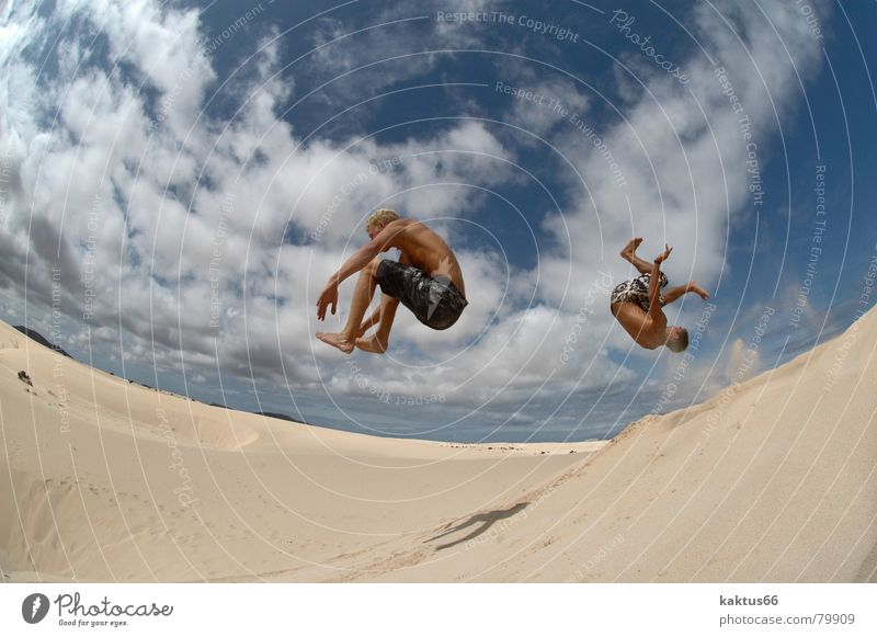 Sky Vacation & Travel Youth (Young adults) Blue Summer Ocean Clouds Joy Beach Funny Sports Flying Brown Sand Jump Air
