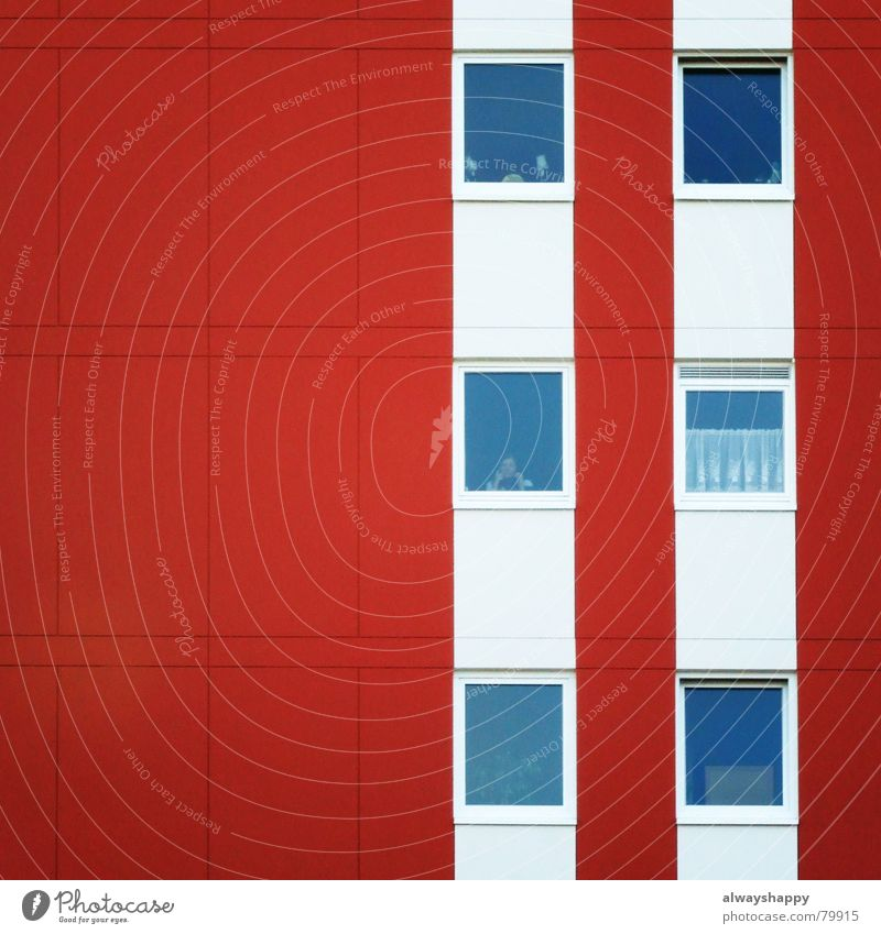 White Red Loneliness House (Residential Structure) Window Feasts & Celebrations Flat (apartment) Gloomy Grief Distress Geometry Escape Curtain Memory Forget