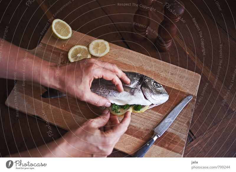 Hand Healthy Eating Feminine Natural Food Fresh Nutrition Fish Delicious Knives Lunch Lemon Chopping board Wooden table Prepare the food
